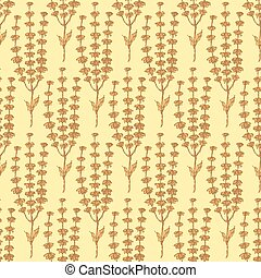 Sketch basil herb in vintage style, vector seamless pattern