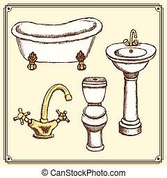 Sketch bathroom equipment in vintage style, vector