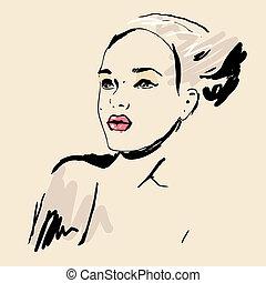 Sketch Beautiful girl.