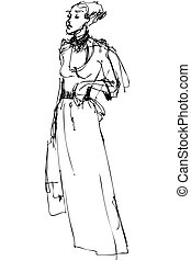 sketch beautiful slender blonde wit