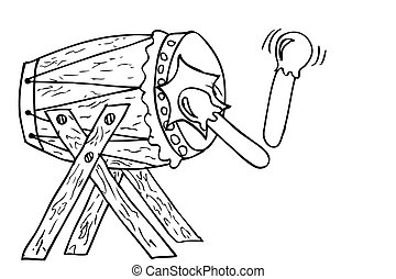 Hand Draw Sketch of Bedug, (indonesia traditional drum)