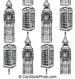 Sketch Big Ben and phone cabin, vector  seamless pattern