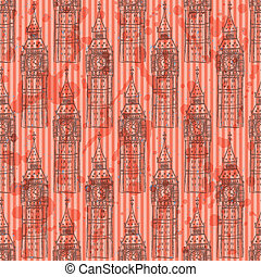 Sketch Big Ben, vector  seamless pattern
