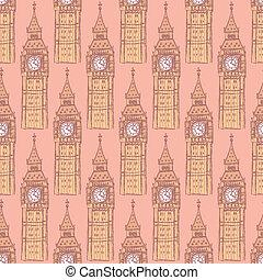 Sketch Big Ben, vector  seamless pattern
