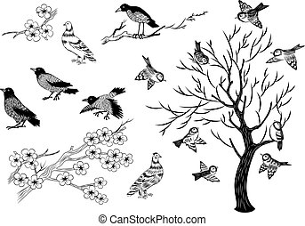 Sketch birds and trees