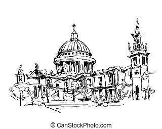 sketch black and white ink drawing of London top view - St. Paul