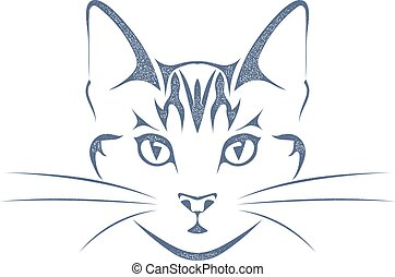 Sketch black silhouette of a cat head isolated on white background. Style grunge Stock vector illustration.