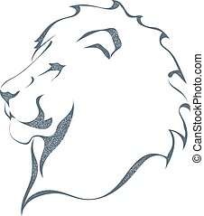 Sketch black silhouette of a lion's head in profile isolated on white background. The king of all animals, grunge style. The strength and pride. Stock vector illustration.