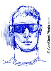 blue ballpoint pen to portrait of a man in sunglasses