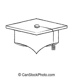 sketch blurred silhouette image graduation cap