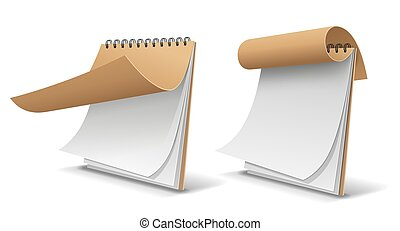 Sketch book brown cover paper, template design isolated on white background