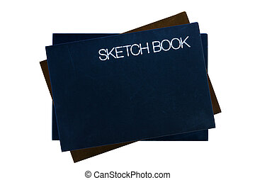 Sketch book on white background.