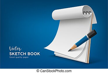 Sketch book white paper roll with pencil, template design on blue background