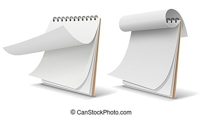 Sketch book white paper, template collection design isolated on white background