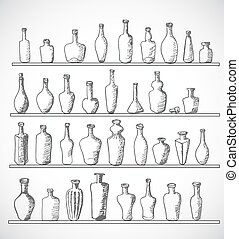 Sketch bottles collection. Hand-drawn with ink.