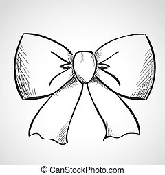 Sketch bow - Sketch ribbon bow, hand drawn, ink style