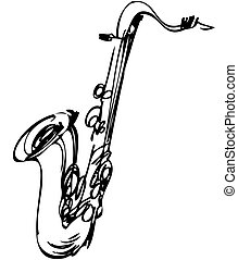 sketch brass musical instrument saxophone tenor - a sketch...