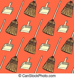 Sketch broom and dust pan in vintage style