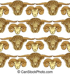 Sketch bull and ram head in vintage style, seamless pattern...