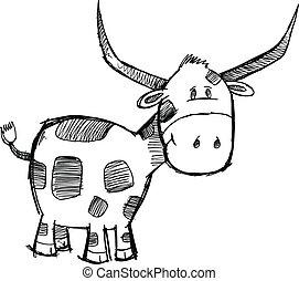 Sketch Bull Cattle Animal Vector
