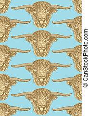 Sketch bull head in vintage style, seamless pattern