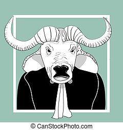Sketch bull man judge. Vector illustration