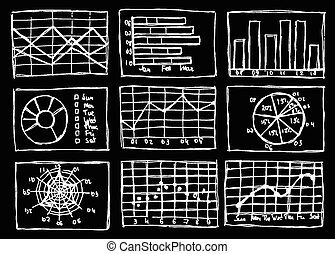 Sketch business charts in vintage style, vector