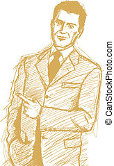 Sketch Business Man Shows Something With Finger - Vector...