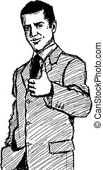 Sketch Business Man Shows Well Done - Vector Sketch, comics...