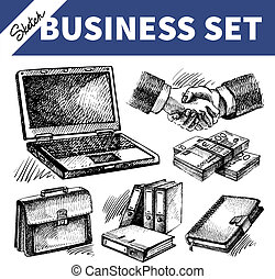 Sketch business set. Hand drawn illustrations