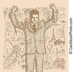 Sketch Businessman With Hands Up Against Love Story Background