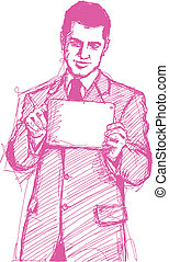Sketch Businessman With I Pad - Vector Sketch, comics style...