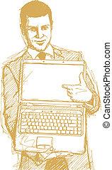 Sketch Businessman With Open Laptop In His Hands - Vector...