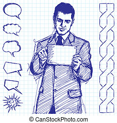 Sketch Businessman With Touch Pad - Vector sketch, comics...