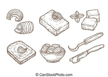 Sketch butter. Closeup cutting margarine block, fresh bread and knife. Vintage hand drawn culinary cooking vector set. Butter block breakfast, cooking culinary dairy illustration