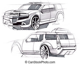 Sketch by hand of a vehicle with increased terrain. Illustration.