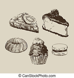 Sketch cakes on light background