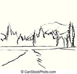 sketch., campi, countryside., mano, paesaggio, disegnato, strada