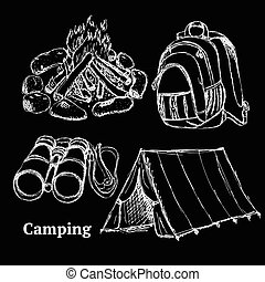 Sketch camping set in vintage style
