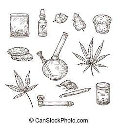 Sketch cannabis. Medical marijuana leaves, weed joint and bong, cbd oil. Hand drawn ganja vector set