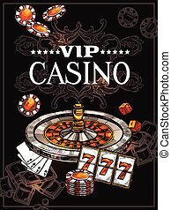 Sketch Casino Poster - Vip casino poster with roulette wheel...
