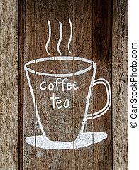 Sketch chalk cup of coffee and tea on wood w