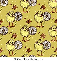 Sketch chiken and dandelion pattern in vintage style