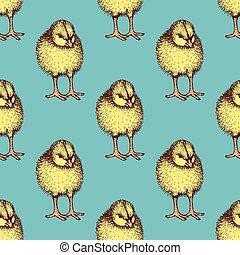Sketch chiken pattern in vintage style, vector