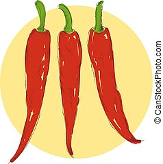 Sketch chilli pepper in vintage style hand drawn