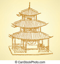 Sketch Chinese temple, vector background eps 10 - Sketch...