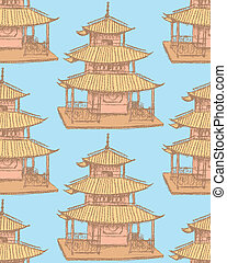 Sketch Chinese temple, vector seamless pattern