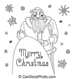 Sketch Christmas card with a mighty Santa. Vector...