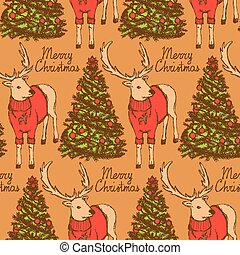 Sketch Christmas reindeer and New Year tree vintage style,...