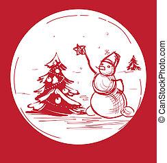 Sketch Christmas symbol snowman with tree - Christmas...